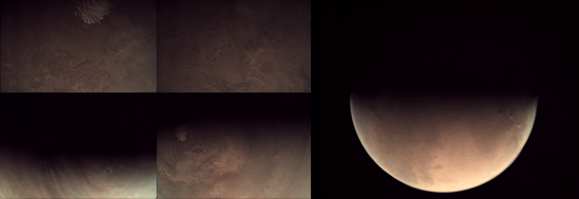 This is a collage of Visual Monitoring Camera (VMC) images acquired on 25 May and downloaded to Earth early on 26 May 2015. They are among the first in a series of over 2000 images that are being acquired by Mars Express in support of the VMC Schools Campaign. ESA/Mars Express/VMC – CC BY-SA IGO 3.0