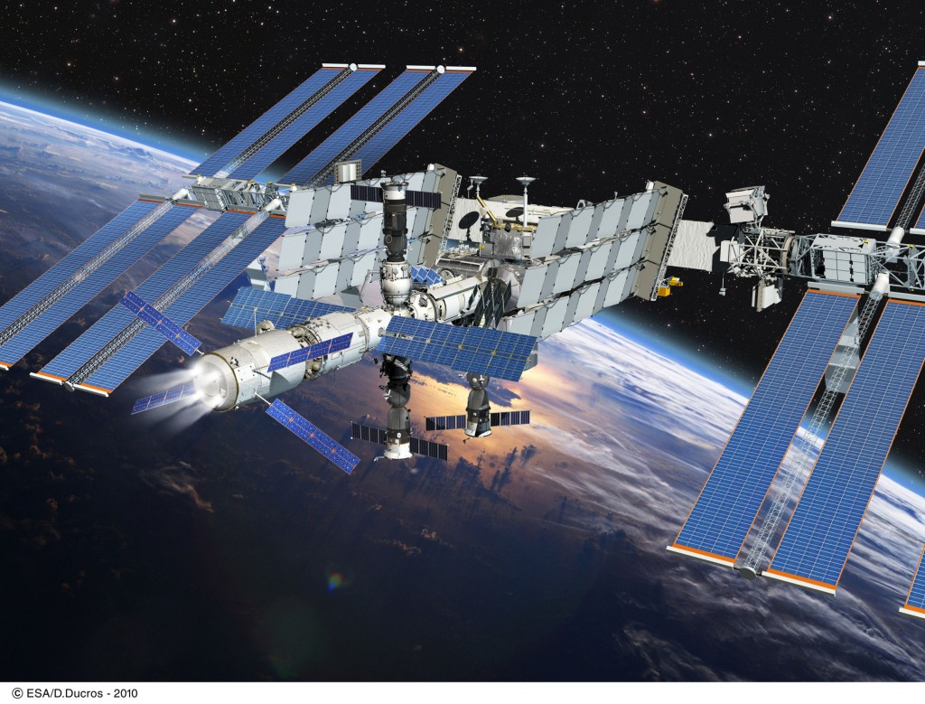 ATV fires its engines for reboosting ISS to a higher orbit. Credit: ESA