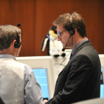 Daniel Firre (right) in ESOC Main Control Room during Cryosat launch 8 April 2010