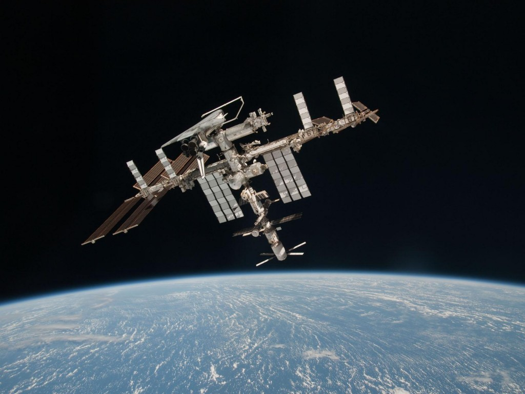 ISS with ATV & Shuttle docked captured by ESA's Paolo Nespoli credit: ESA/NASA/Roscosmos