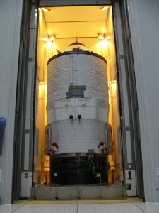 ATV-3 moving to the Final Assembly Building at Kourou on 7 February 2012. Credit: ESA/K. MacDonell