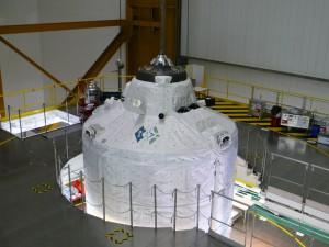 ATV-3 ready for fairing lowering in Kourou Credit: ESA/A. Novelli