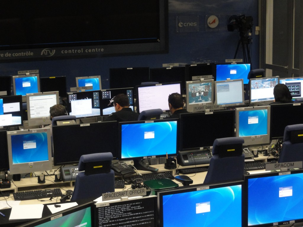 ESA/CNES mission controllers on console in ATV-CC 22 March Credit: CNES