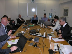 ATV-3 post-flight analysis meeting: experts gathered to coordinate the final presentations on changes and anomalies for the Board meeting scheduled Friday, 7 December 2012. Credit: ESA