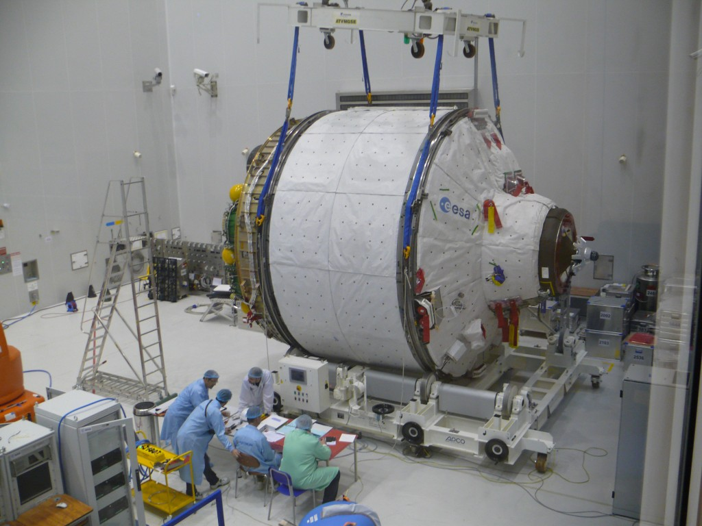 ICC portion of ATV Albert Einstein being weighed at Kourou Credit: ESA