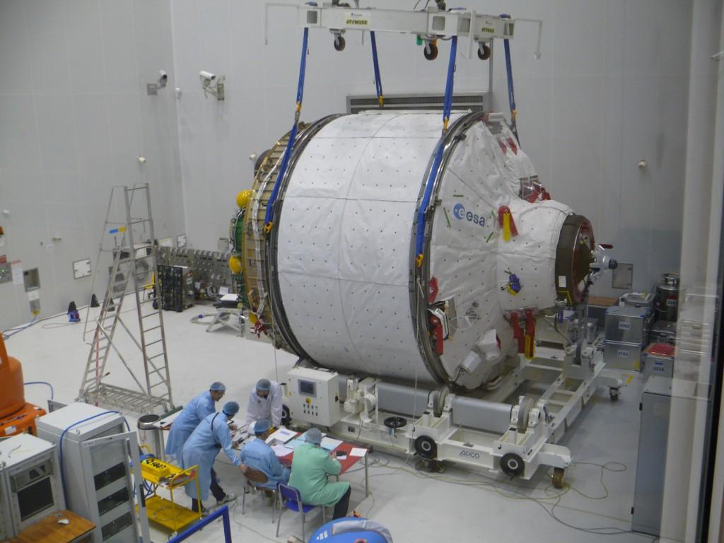 ICC portion of ATV Albert Einstein being weighed at Kourou Credit: ESA