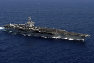 The aircraft carrier USS Enterprise (CVN 65) cruises underway in the Atlantic Ocean with her embarked Carrier Air Wing One (CVW-1).