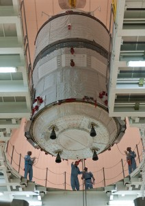 ATV Albert Einstein is lowered into position for integration with its Ariane 5 launcher