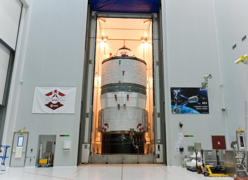 ATV-4 being moved into the container (CCU3) used to transport it to BAF at Kourou on 7 May 2013. Credit: ESA/C. Beskow