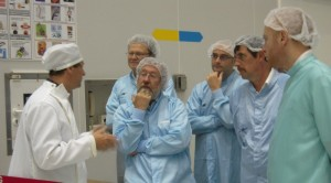 Proba-V team giving us a look at their satellite in the clean room. Credit: ESA/C. Beskow