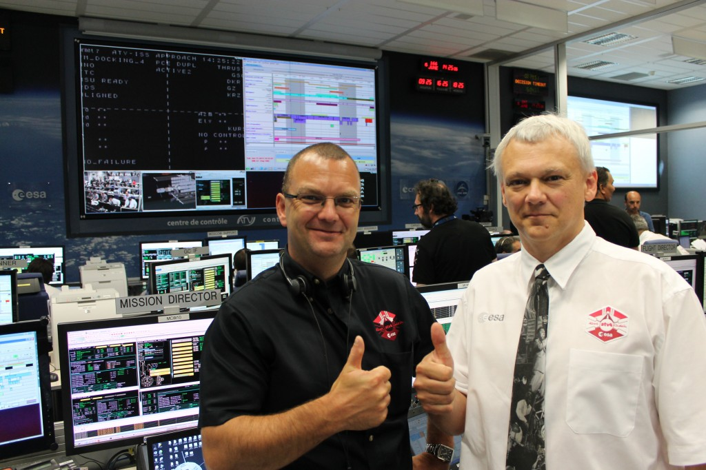 ESA's Kris Capelle and Jean-Michel Bois at ATV-CC after ATV-4 Docking 15 June 2013 Credit: ESA