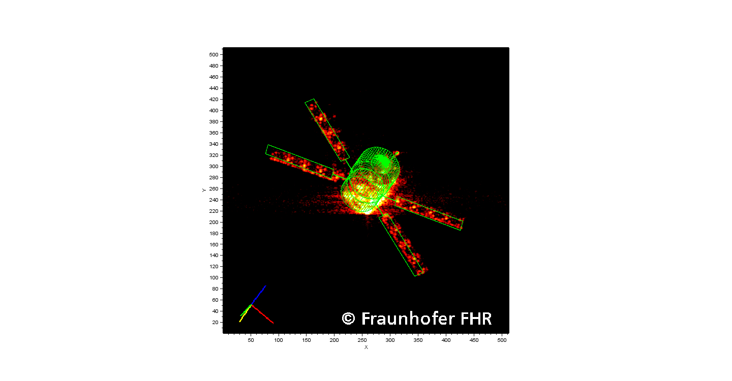 ATV-4 imaged by radar with wire grid superimposed Credit: ESA/Fraunhofer FHR institute