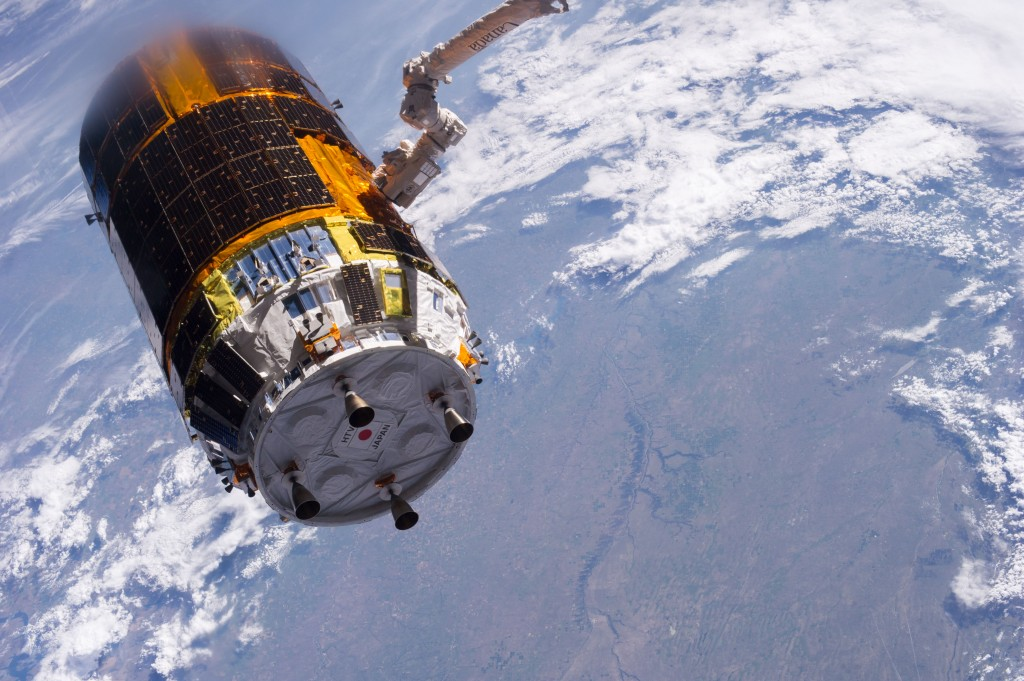 Japanese HTV-4 unmanned cargo spacecraft, backdropped against a land mass on Earth, following its unberthing but just prior to its release from the orbital outpost on 4 September 2013. Credit: NASA