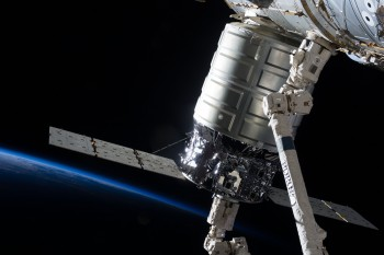 Attached to the Harmony node, the first Cygnus commercial cargo spacecraft built by Orbital Sciences Corp., in the grasp of the Canadarm 2, is photographed by an Expedition 37 crew member on the International Space Station. Image Credit: NASA