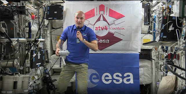 ESA astronaut Luca Parmitano explains ATV while speaking to students at universities in Italy, Germany and Israel during an in-flight call 24 October 2013. Credit: ESA/NASA