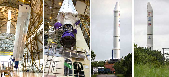 In the two photos at left, Ariane 5's core cryogenic stage is raised for its positioning over the mobile launch table inside the Spaceport's Launcher Integration Building – which was followed by rollout of the heavy-lift vehicle's two large solid rocket boosters (photos at right). Credit: credit: ESA/CNES/Arianespace - Photo Optique Video du CSG