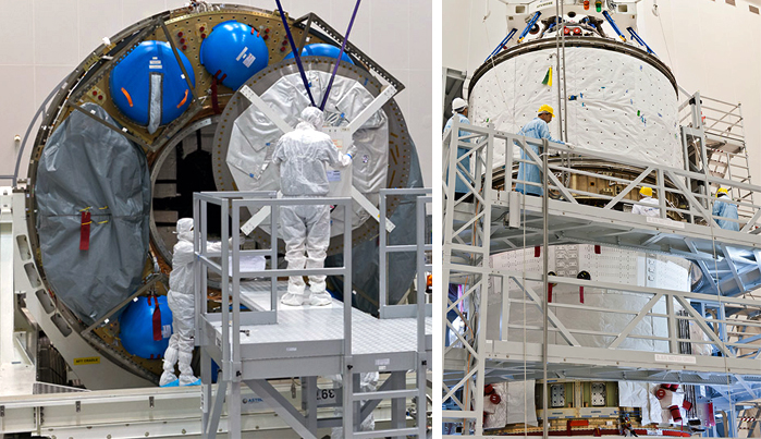 After completion of its initial cargo loading process in the Spaceport's S5C facility, the ATV Integrated Cargo Carrier's large aft opening is sealed (photo at left). This element was then mated with the Service Module to form the completed Automated Transfer Vehicle (at right).