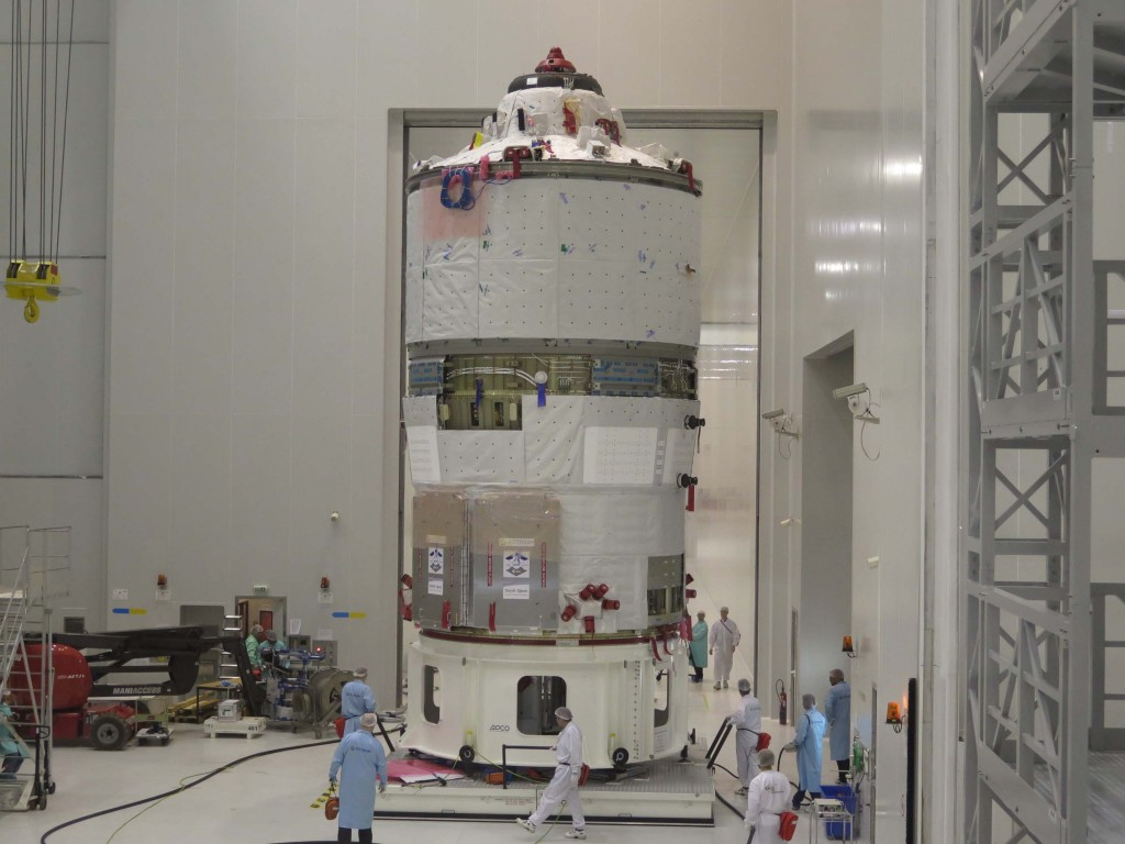 ATV-5 ready to move from S5C to S5B - where fuelling will take place - at Kourou on 15 May 2014. Credit: ESA