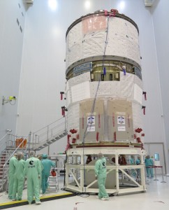 ATV-5 under inspection in Kourou on Saturday, 17 May, just prior to fuelling in the week of 19 May. Credit: ESA