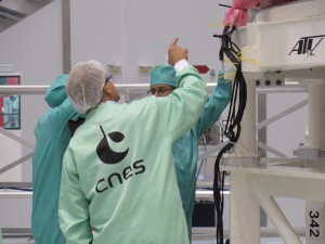 Teams inspecting ATV-5 in Kourou on Saturday, 17 May, just prior to fuelling in the week of 19 May. Credit: ESA