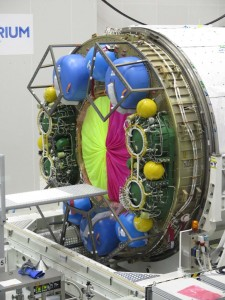 ATV carries propellant for Russian Service Module in these yellow and green tanks. Credit: ESA