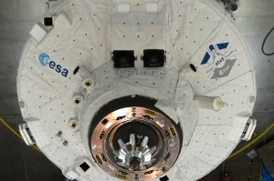 ATV5 front cone with LIRIS sensors just prior to Ariane 5 fairing encapsulation. Lidar: upper left side along the external diameter. There are three visible and Infrared cameras located around the docking cone on the left side. Credits: ESA