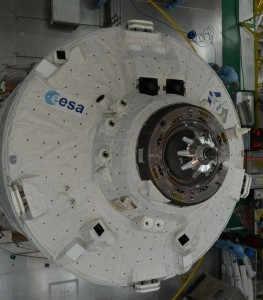 ATV5 in the BAF, before launch; the cameras are just to the right of the ESA logo. The lidar at the top. Credit: ESA