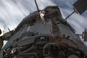 ATV-5 during Soyuz TMA-12M departure. Credits: ESA/NASA