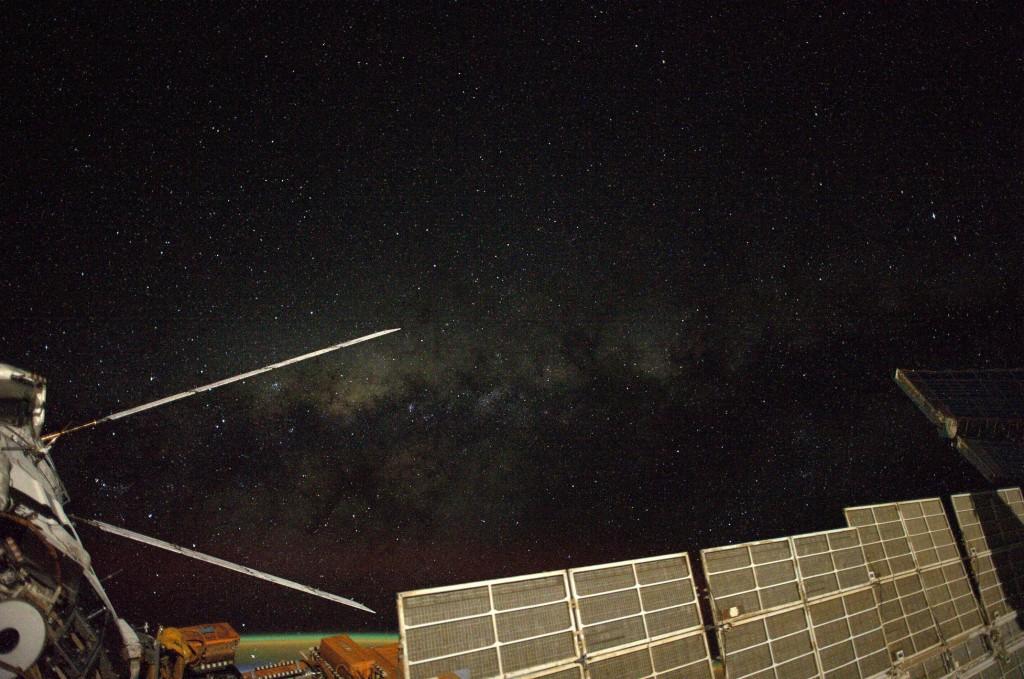 ATV-5 attached to the International Space Station at night. Credits: ESA/NASA
