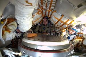 Steve, Aleksander and Oleg testing their spacecraft for their flight home. Credits: ESA/NASA