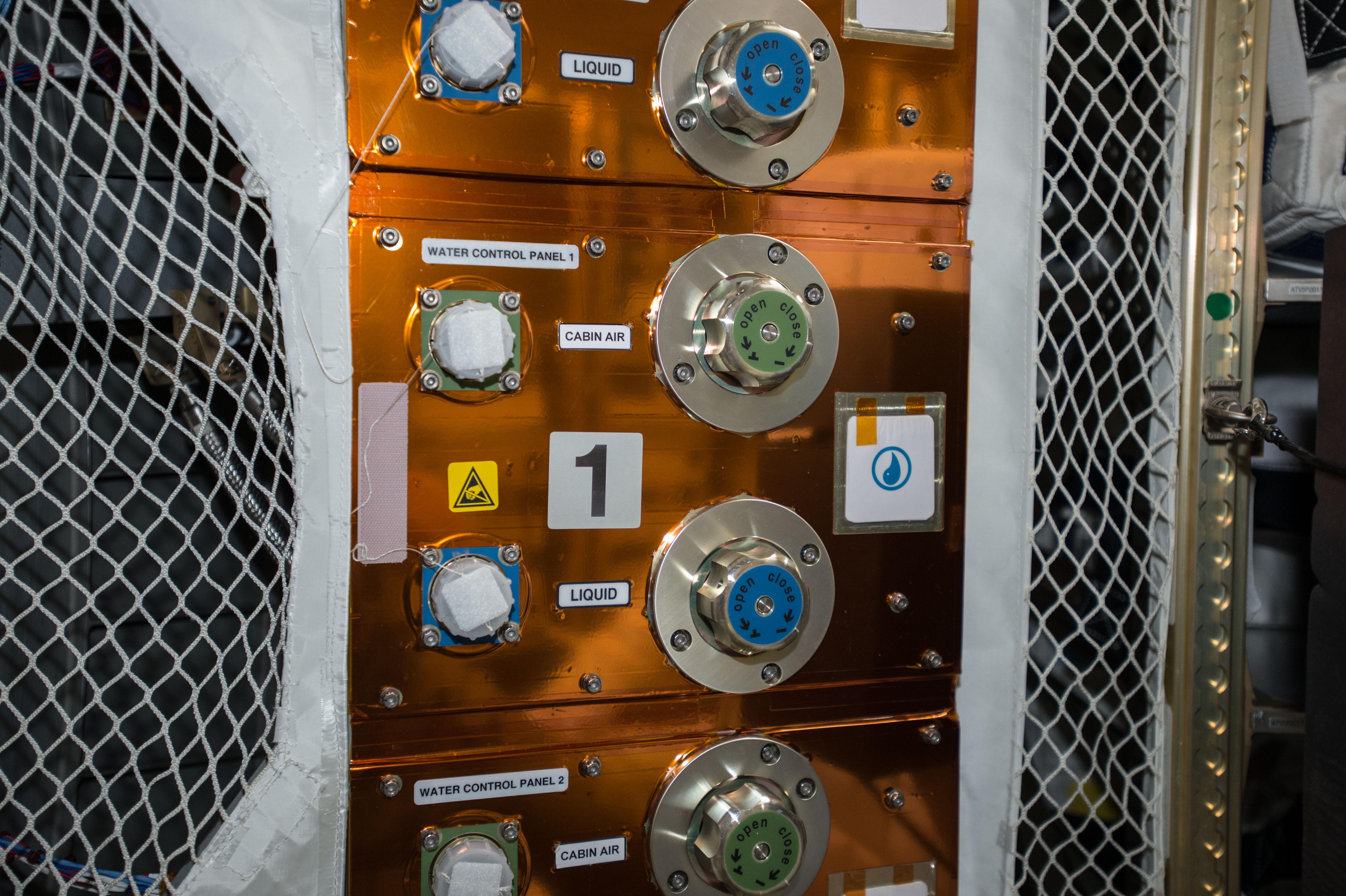 ATV water & gas control panel Credit: ESA/NASA