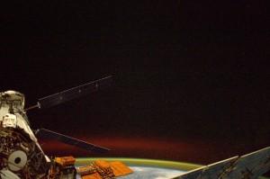 ATV-5 (left) at night. Credits: ESA/NASA