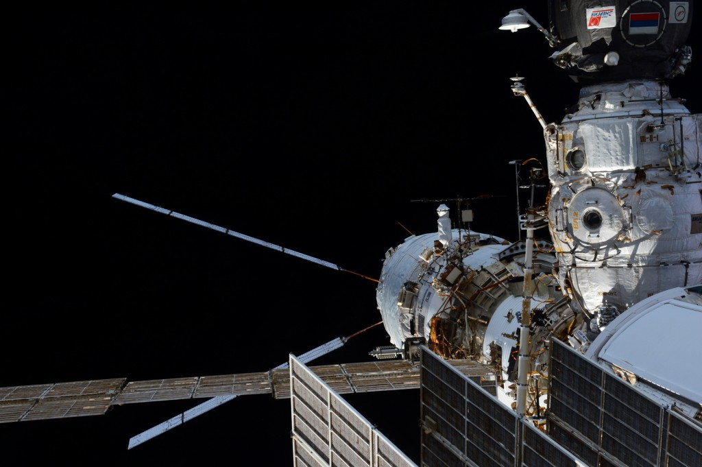 ATV5 Georges Lemaître - At the very back end of the International Space Station