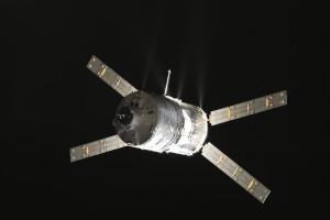 ATV-4 basking in sunlight approaching ISS. Credits: ESA/NASA