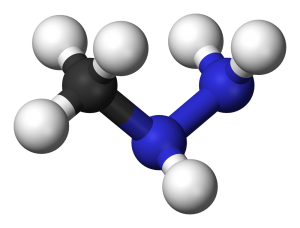 MMH molecule. Licensed under Public Domain via Wikimedia Commons - http://commons.wikimedia.org/wiki/File:Methylhydrazine-3D-balls.png#mediaviewer/File:Methylhydrazine-3D-balls.png