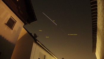 "Gerhard Holtkamp ""here is a picture I took from the ATV ISS pass this evening"" Darmstadt, Germany"