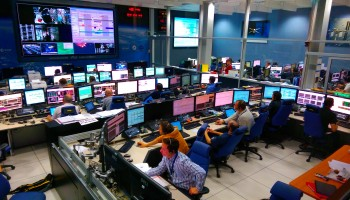 In this image, the ESA and CNES mission control teams are seen in the foreground, preparing for ATV-5 undocking. In the background, ESA's Engineering Support Team and industry experts can be seen. Out of view to the left: the CNES flight dynamics experts. ATV-5 undocking is set for 14:44 CET, 14 Feb 2015. Credit: ESA