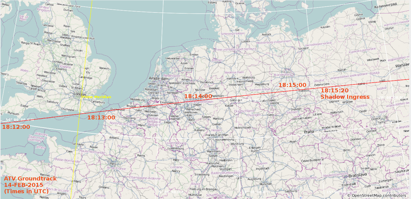 ATV-5 ground track over Western Europe, 14 February 2015; ATV moves from left to right (West to east); times annotated in GMT. CET = GMT+1