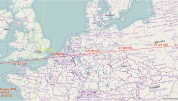 ATV-5 ground track over Western Europe, 15 February 2015 - on its final orbit before reentry; ATV moves from left to right (West to east); times annotated in GMT. CET = GMT+1