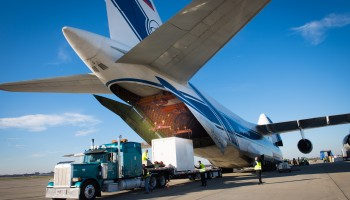 Orion test ESM arriving in USA. Credits: NASA