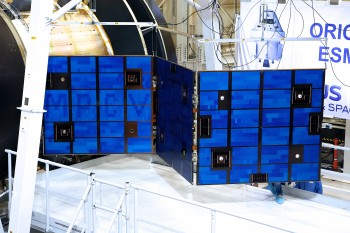 Solar array deployment test. Credits: Airbus