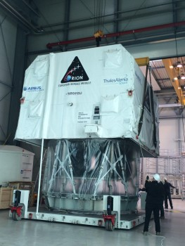 The first flight module of the Orion European Service Module was delivered by Thales Alenia Space to the Airbus DS site in Bremen, Germany on 25 April 2016.   The Service Module will for now rest in Building 43 where first integration steps will take place. Later on it will be transported to the cleanroom in building 41, for integration and test in the clean environment.
