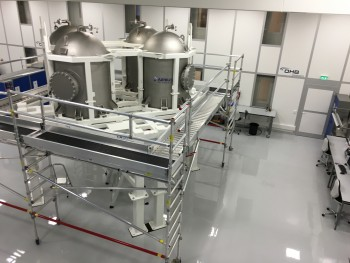 Propulsion Qualification Model (PQM), currently including the structure and the propellant tanks, ready for the start of integration activities at OHB Sweden.