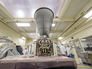 Orion's Service Module Engine during vibration testing at NASA's Johnson Space Center in Houston, USA. Credits: NASA