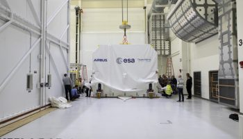 European Service Module arrives in Operations and Checkout building. Credits: NASA