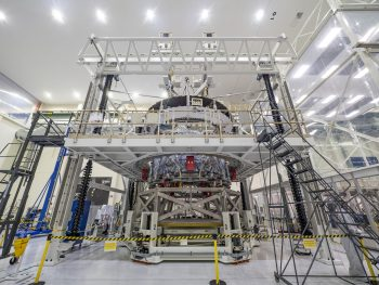European Service Module at the Neil Armstrong Operations and Checkout building. Credits: NASA–R. Sinyak