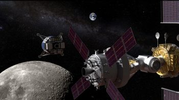 Artist's impression showing lunar vehicle deaprting to the Moon with Orion docked to Gateway. Credits: NASA