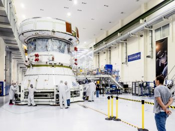 Moving the service module for testing. On 29 April Orion's Service Module moved to the lift station inside the assembly bay for installation and fastening of systems in preparation for Direct Field Acoustics Test. The Service Module moved down to the east end of the bay where it will be surrounded with speakers and exposed to the acoustic level that will be experienced in space. Credits: NASA