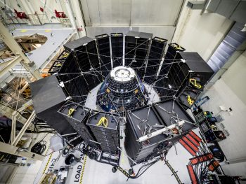 The Orion crew module for Exploration Mission-1 during Direct Field Acoustics Test. Spacecraft response and sound pressure data were collected with microphones, strain gauges and accelerometers. The max decibel level was -12dB. Credits: NASA