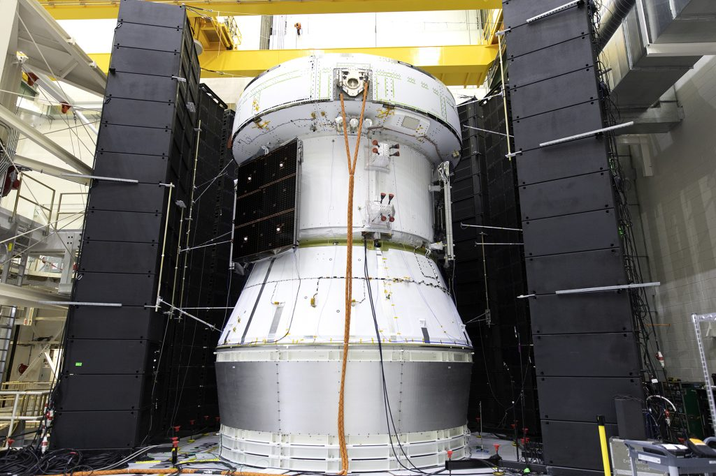 Orion Service Module Undergoes Acoustic Testing. Credits: NASA–Frank Michaux